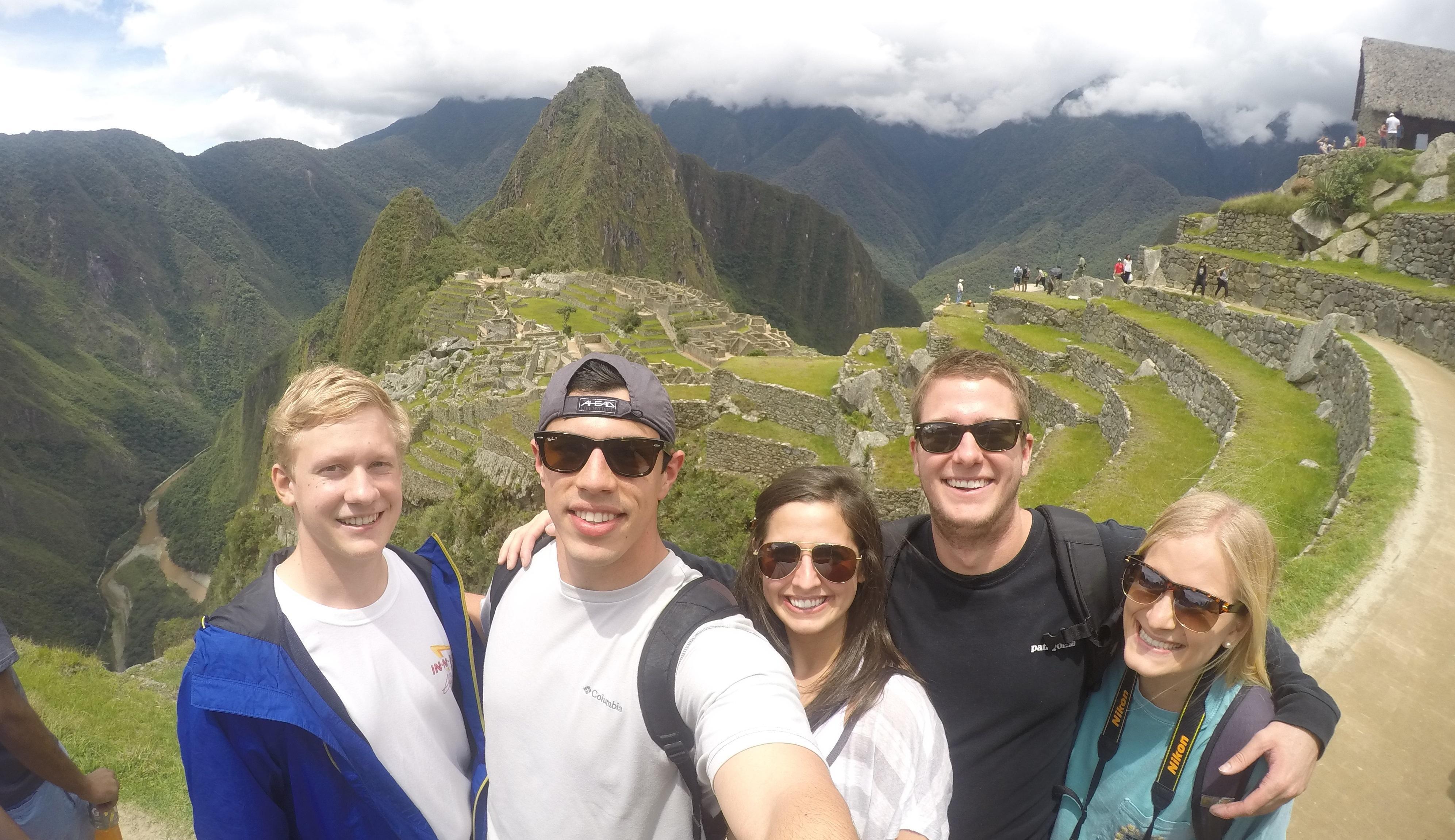 Students enjoy Machu Picchu in Peru